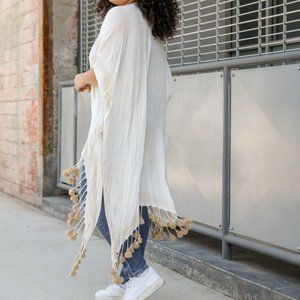 Bohemian Longline Tassel Border Kimono - White